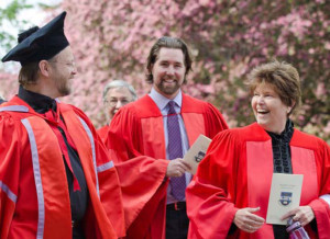 David (on the left with the John Knox hat) with Toronto Blue Jays knuckleballer R.A. Dickey and the inimitable Jennifer Harold at convocation last month.